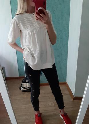 Молочная хлопковая блуза, рубашка свободного кроя от topshop