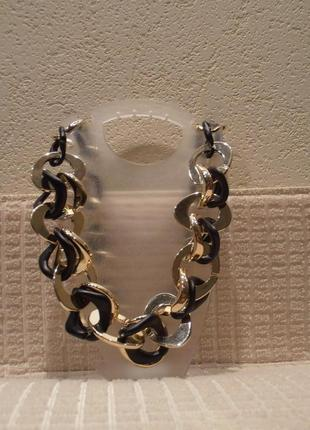 Массивные пластиковые золотистые с черным бусы колье цепь на шею