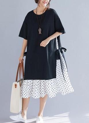 Женское платье dimanaf новое черное платье большого размера с принтом в горошек