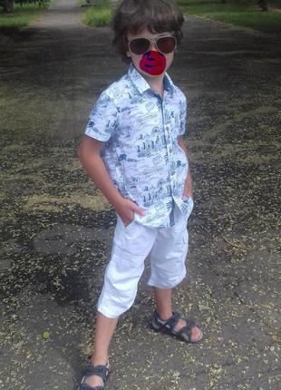 Модная стильная, легкая рубашка george р.116-122 (6-7 лет) хлопок
