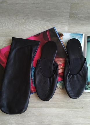 Кожаные тапочки в чехле