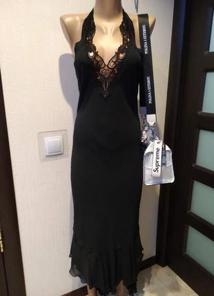 Шикарное чёрное тончайшее вечернее платье с шитьём