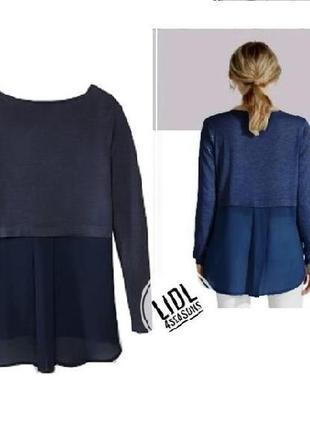 Эффектный пуловер коыта с шифоном esmara джемпер