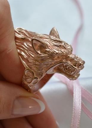 Кольцо волк из серебра