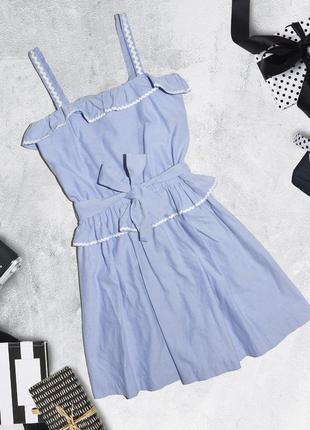 Хлопковое платье с оборками и поясом boutique by jaeger