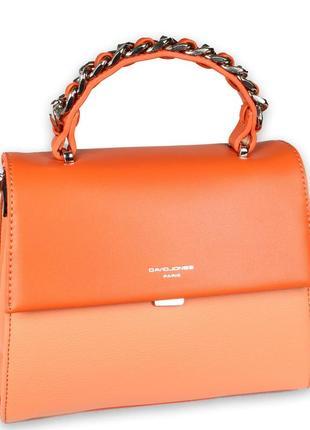Шикарная сумочка david jones кораллового цвета со стильной плетенной ручкой
