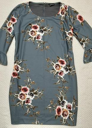 Красивое плотное платье свободного кроя norah в цветы р. 52-54 (46)