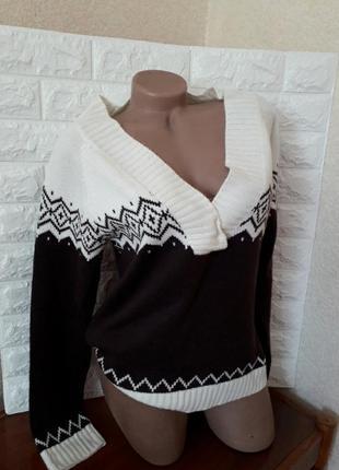 Красивый шерстяной джемпер,свитер,реглан молочный шоколадный рр 50-52