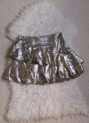Серебристая юбка с воланами