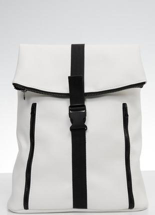 Вместительный женский белый рюкзак для ноутбука