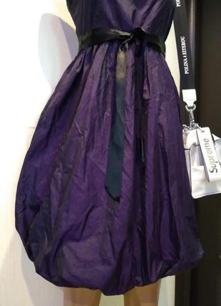 Стильное чернильно-фиолетовое коктейльное платье сарафан
