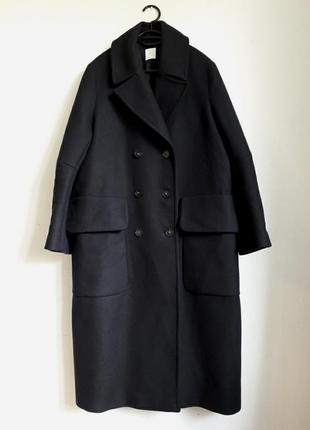 Двубортное шерстяное пальто h&m premium quality