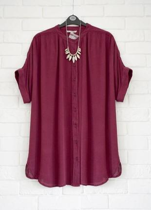 Натуральная удлиненная блуза из жатой вискозы tu uk16 (указано на бирке) новая