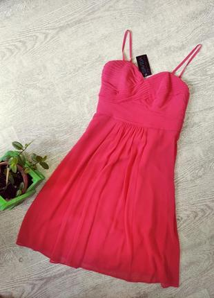 Шикарное розовое нарядное платье