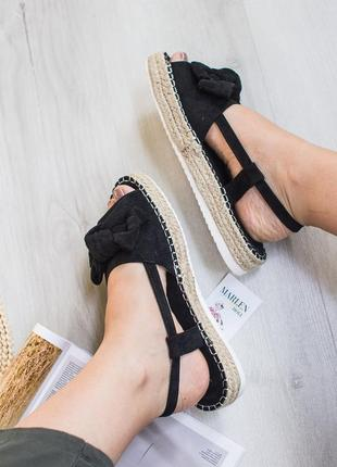 Замшевые босоножки сандали эспадрильи на плетоной подошве