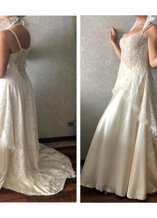 Шикарное свадебное платье , ручная вышивка , королевский   воротник