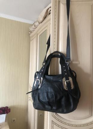 Практичная кожаная сумка, натуральная кожа, длинный ремешок,