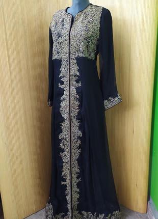 Длинное нарядное платье с вышивкой/ абая / галабея / платье этно стиль