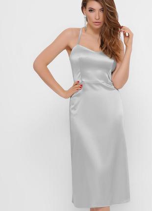 Роскошное серебристое платье