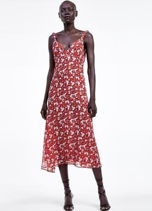 Новое платье сарафан zara с цветочным принтом