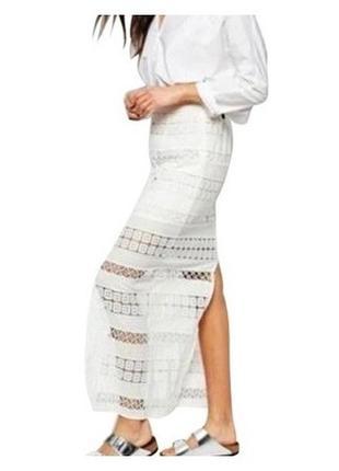 Кружевная макси юбка с разрезом