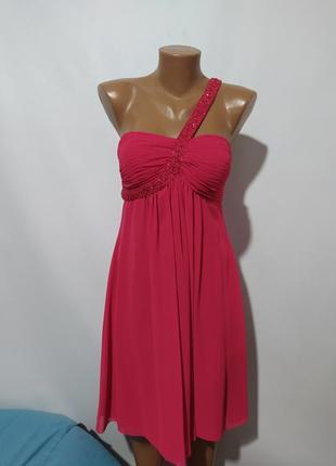 Платье коктейльное фуксия на одно плечо