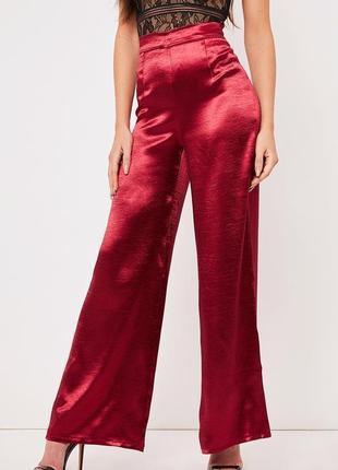 🔥 total sale 🔥cатиновые брюки высокой посадки палаццо prettylittlething ms798