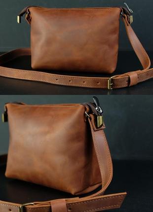 Женская сумка из натуральной винтажной кожи на лето crazy horse коричневая цвета коньяк