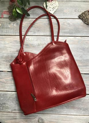 Genuine leather кожаная сумка рюкзак на плечо