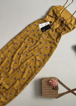 Новое красивейшее цветочное платье сарафан макси с завязкой на спине stradivarius