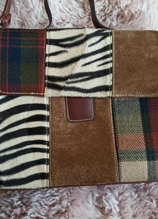 Ексклюзивная кожаная сумка кашемир кожа замша текстиль
