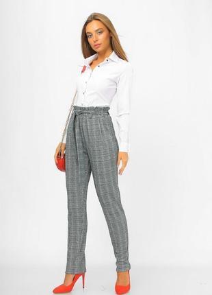 Женские брюки с завышенной талией из ангоры серый