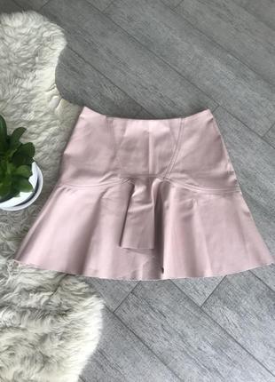 Кожаная юбка мини
