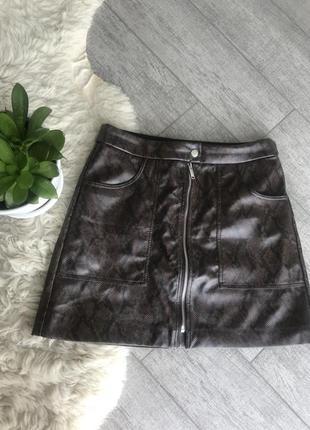 Юбка stradivarius, кожаная юбка
