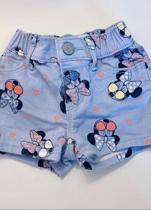 Джинсовые шорты minnie mouse disney , gap
