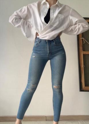 Синие джинсы скини с высокой посадкой stradivarius