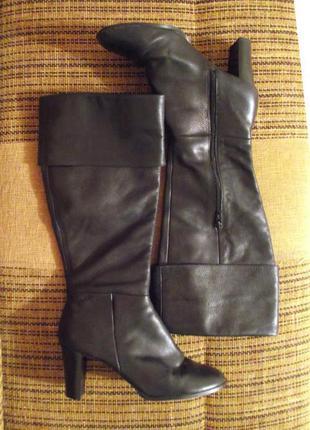Распродажа! фирм. демисезонные высокие сапоги ботфорты new look, р.41 кожа!