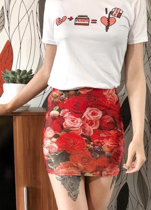 3д 3d мини юбка резинка карандаш с принятом ягоды розы цветы