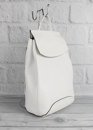 Кожаный городской рюкзак сумка valensiy 83003 белый, трансформер