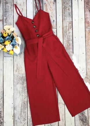Женский красный комбинезон на бретелях кюлоты красный комбинезон брюками