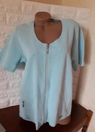Красивая голубая,бирюзовая футболка на молнии,блуза в рубчик,батал р 56