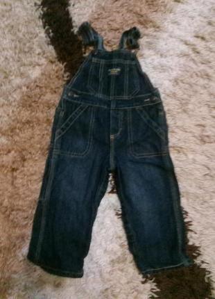 Фирменный джинсовый комбинезон oshkosh на 1,5 года