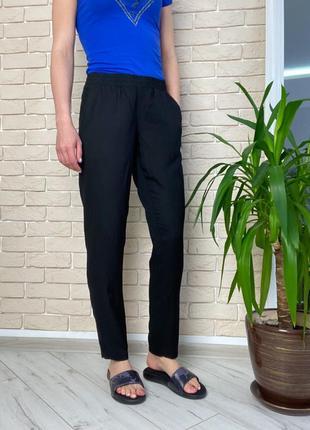 Чёрные легкие штаны на резинке вискоза