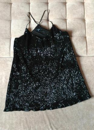 Лёгкое переливающееся пайетками чёрное платье сарафан new look, размер xxl xxxl