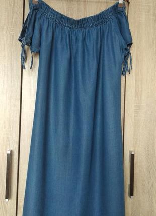 Шикарный джинсовый сарафан платье сукня с открытыми плечами 50-52 р.