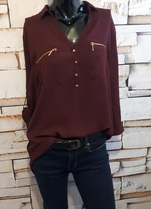 Шифоновая блуза удлиненная цвет бордо