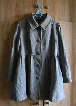 Шерстяное серое пальто от h&m