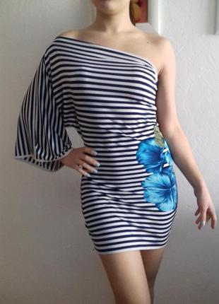 Очень крутое платье-туника с разрезом на рукаве+ подарок!