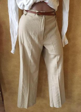 Идеальные песочные брюки🥰свободные штаны лён /бермуды /кюлоты /мом с высокой талией
