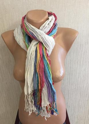 Летний жатый шарф радуга 🌈 в полоску ashma